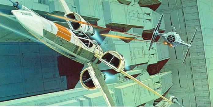Ralph Mcquarrie Star Wars Tie Attacks An X Wing
