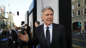 """Ford poses at the premiere of """"42"""" in Hollywood"""