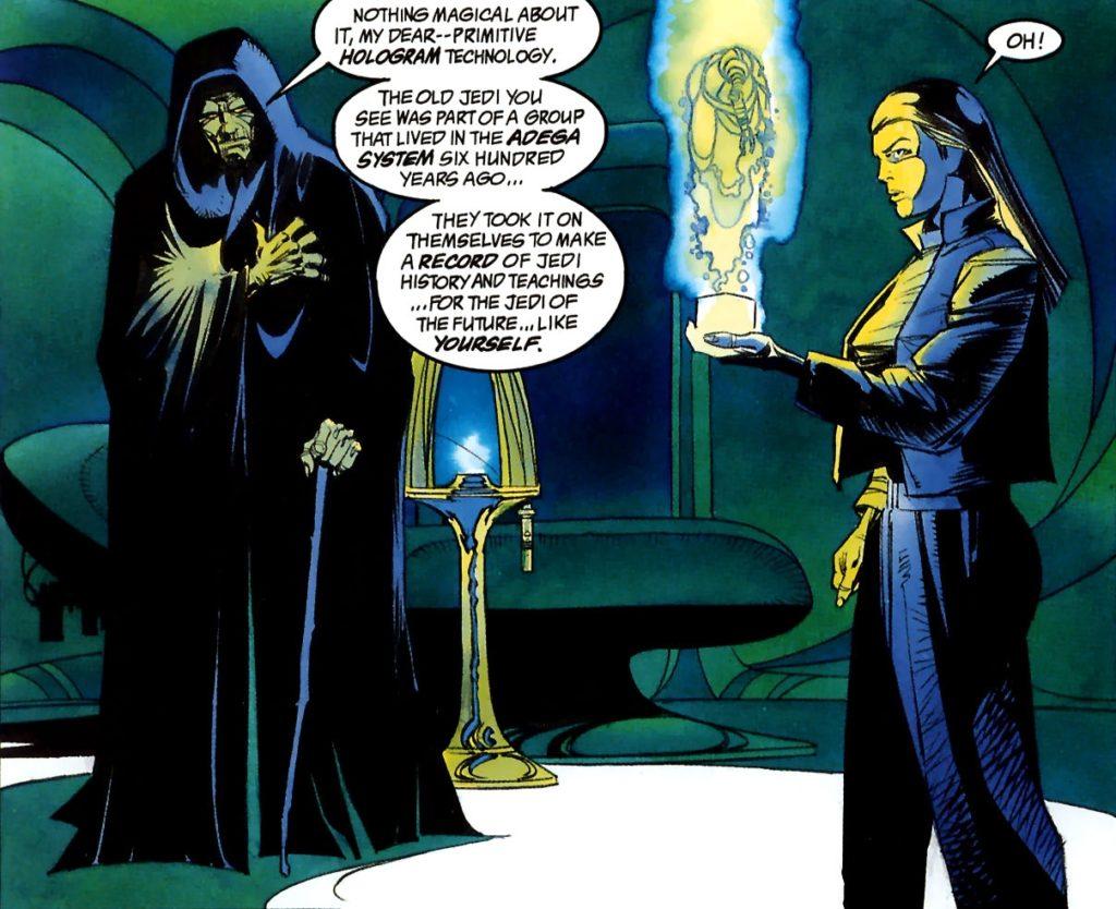 Leia junto com Darth Sidious, ativando o Tedryn holocron