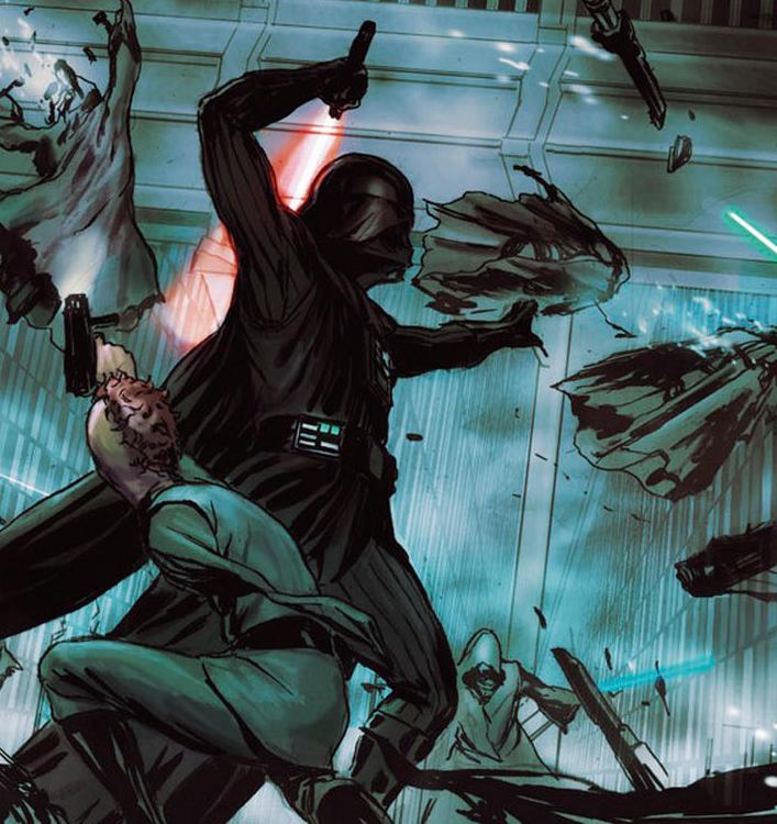 Darth Vader matando alguns de seus inimigos